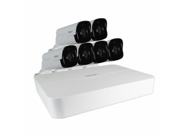 REVO America RU81B6G-2T Ultra HD 8 in 2TB NVR Surveillance System with 6 x 4 Megapixel Bullet Cameras, White