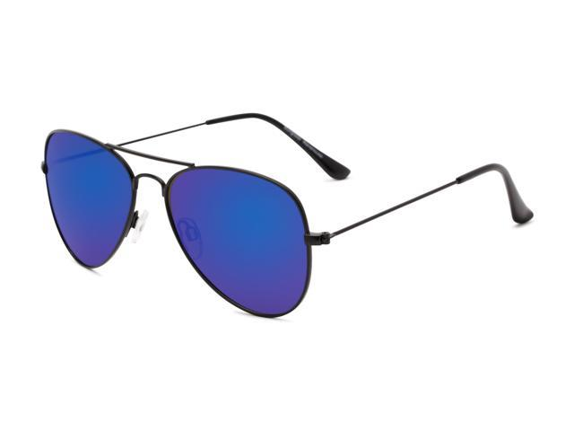 705fc3c14e Sunglass Warehouse Santorini  1985 Black Frame with Blue Mirrored Lenses  Unisex Aviator Sunglasses