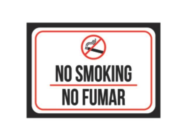 Aluminum Metal No Smoking No Fumar Print Black Red White Picture
