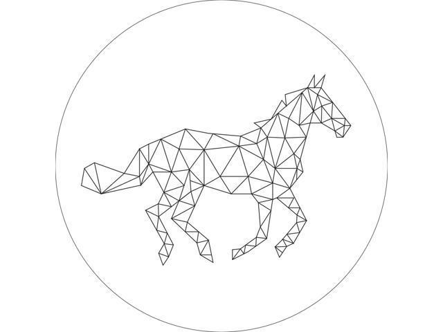 Fine Line Geometric Running Horse Wall Sign Aluminum Round Size