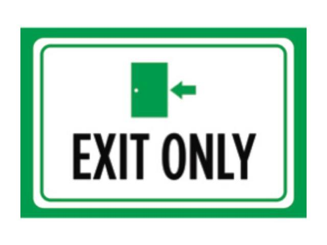 Aluminum Metal Exit Only Print Green White Black Picture Symbol