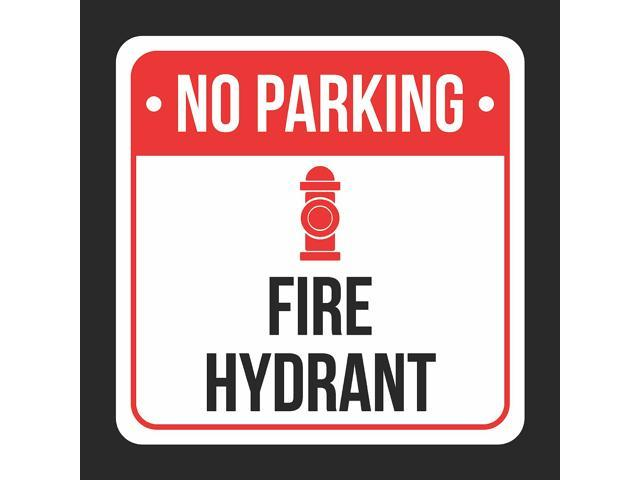 No Parking Fire Hydrant With Symbol Print Black White And Red Metal