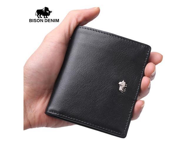 1da99bea2a7a BISON DENIM Brand Business Genuine Leather wallet for men / women Small  Thin Card Holder Slim Wallets Mini Zipper Coin Purse - Newegg.com