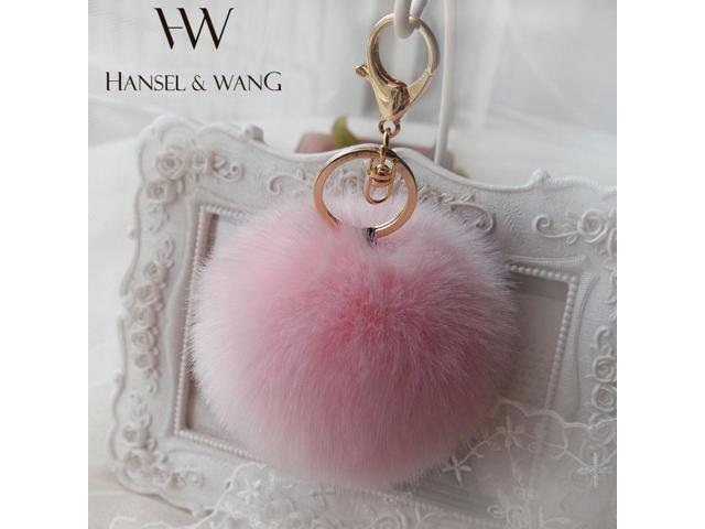 Hansel   Wang 10CM Cute Pompom Keychain Fur Pom Pom Keychain Car Bag Charm  Fur Ball b90366532d83