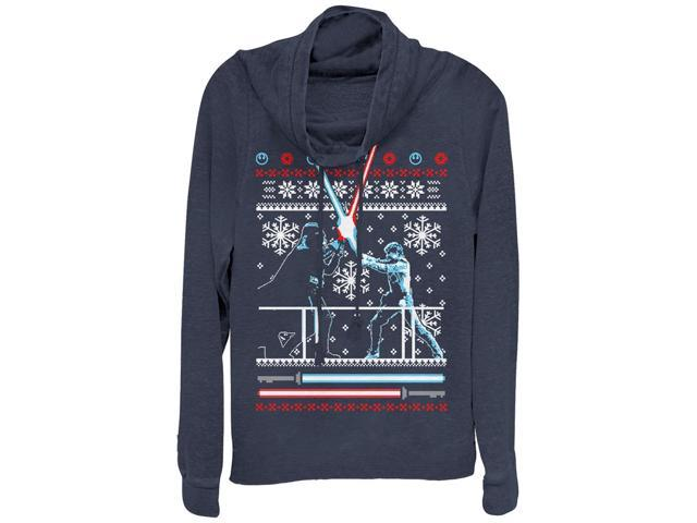 star wars ugly christmas sweater duel juniors graphic cowl neck sweatshirt - Star Wars Ugly Christmas Sweater