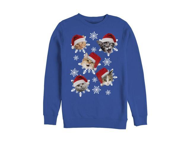 593ddd2963d6a2 Lost Gods Ugly Christmas Sweater Cat Snowflakes Mens Graphic Sweatshirt