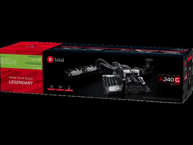 629dab10a68 EKWB EK Fluid Gaming A240G Complete Dual 120mm Water / Liquid Cooling Kit  240mm with EK