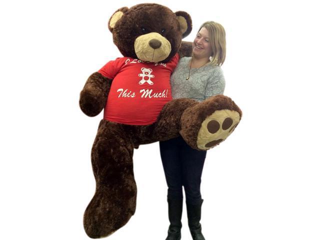 Giant 5 Foot Valentine Teddy Bear Soft Brown 60 Inch Wears