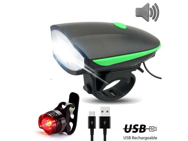 Super Bright Bike Light Set USB Rechargeable Headlight + Taillight with a Horn Waterproof LED Bicycle