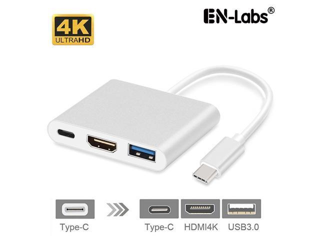 Enlabs USBC2HDUAPD USB Type-C to HDMI 4K2K+USB 3 0+USB-C PD 20V5A Charging  Port Adapter Cable Converter (DP ALT Mode) for MacBook/Chromebook