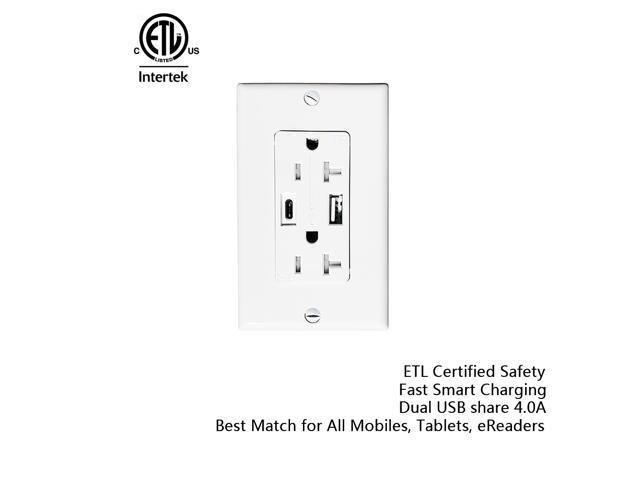 etl listed usb c wall charger 20amp tamper resistant duplex rh newegg com
