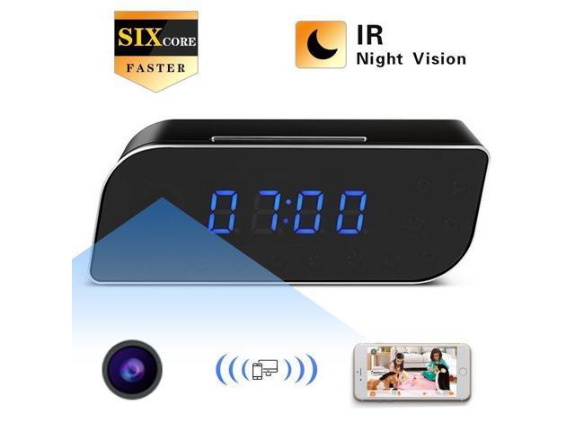 HD 1080P Wifi 4K Spy Hidden Mirror Camera Night Vision DVR IR Motion Alarm Clock