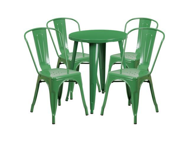 24 Round Green Metal Indoor Outdoor Table Set With 4