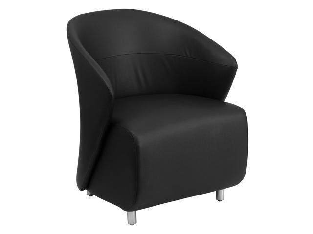 Black Leather Curved Barrel Back Lounge Chair Newegg Com