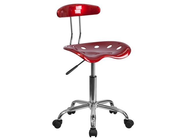 Vibrant Wine Red And Chrome Swivel Task Chair With Tractor