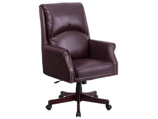 Tremendous High Back Pillow Back Burgundy Leather Executive Swivel Chair With Arms Creativecarmelina Interior Chair Design Creativecarmelinacom