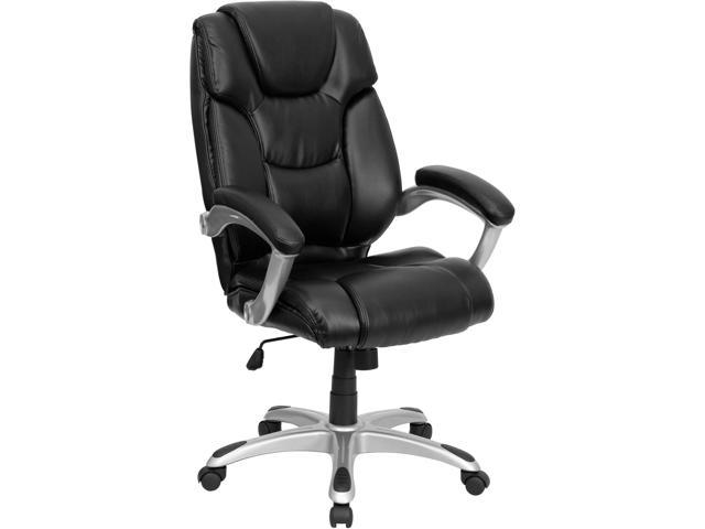 High Back Black Leather Layered Upholstered Executive