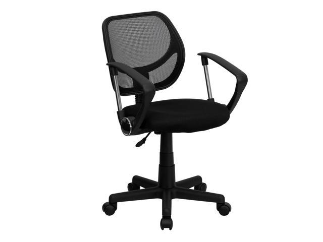 Mid Back Black Mesh Swivel Task Chair With Curved Square