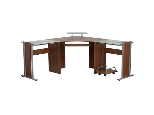 Teakwood Laminate Corner Desk With Pull Out Keyboard Tray And Cpu Cart