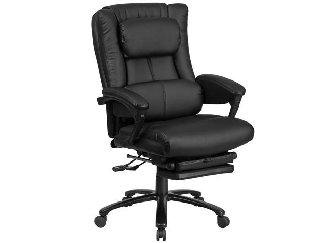 High Back Black Leather Executive Reclining Swivel Office Chair With Lumbar Support Comfort Coil Seat