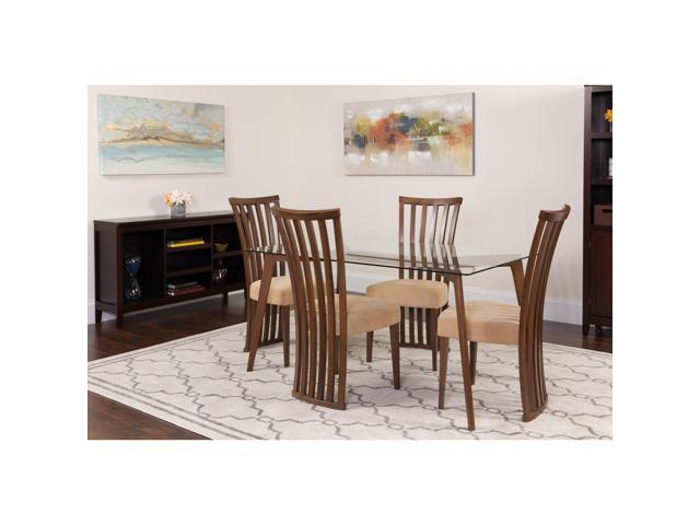 Pleasing Monterey 5 Piece Walnut Wood Dining Table Set With Glass Top And Dramatic Rail Back Design Wood Dining Chairs Padded Seats Newegg Com Download Free Architecture Designs Scobabritishbridgeorg