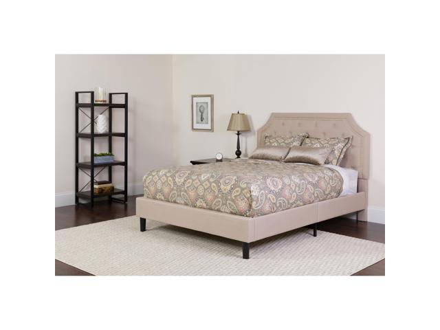 d8dba2a36ca13b Brighton King Size Tufted Upholstered Platform Bed in Beige Fabric ...