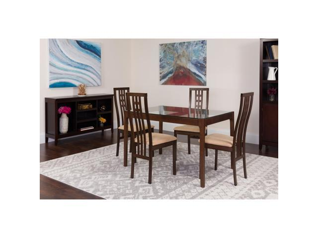 Highland 5 Piece Espresso Wood Dining Table Set With Glass