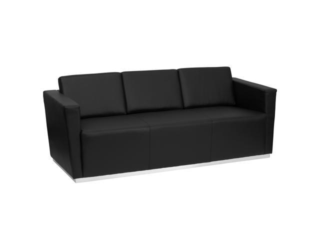 HERCULES Trinity Series Contemporary Black Leather Sofa with Stainless  Steel Base