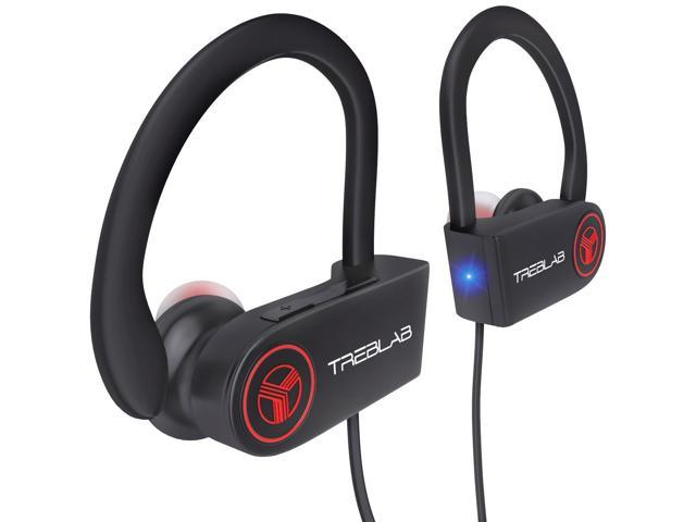 TREBLAB XR100 Bluetooth Sport Headphones for Running, Workout, and Gym - Noise Cancelling, Sweatproof, Cordless, True Beats, w/Mic for iPhone and Android (Black)