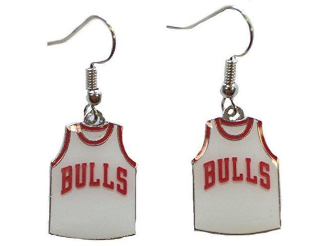 Nba Officially Licensed Chicago Bulls Jersey Style Dangle Earrings