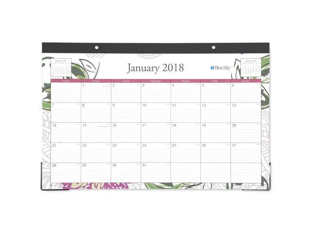 Blue Sky Dahlia 17 X 11 Monthly Desk Pad Calendar January 2018