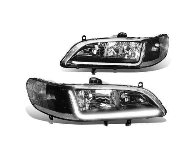 For 98 02 Honda Accord Led Drl Light Bar Headlight Black Housing Clear Corner Headlamp