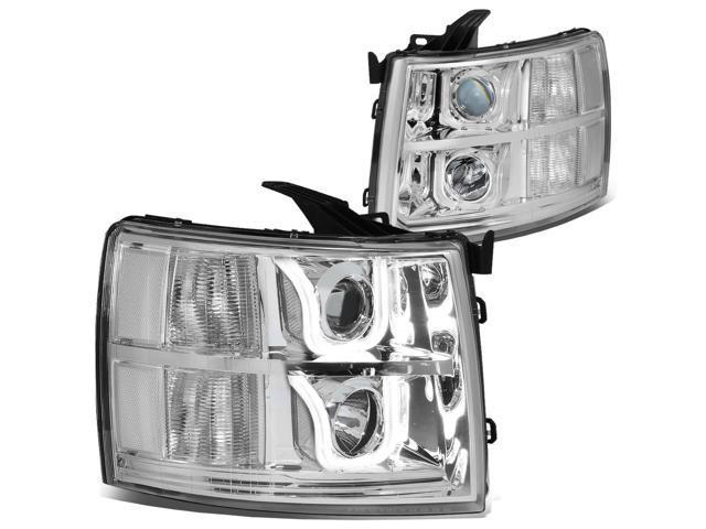 For 07 14 Chevy Silverado Dual Led U Halo Projector Headlight Chrome Housing Clear
