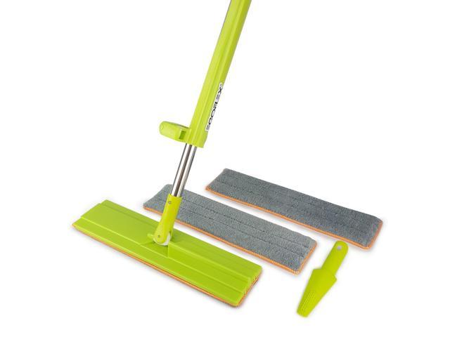 Egoflex Microfiber Floor Mop Easy Wring System Wet And Dry Dust For All Surface Hardwood 3 Washable Premium Pads 1 Cleaning Brush