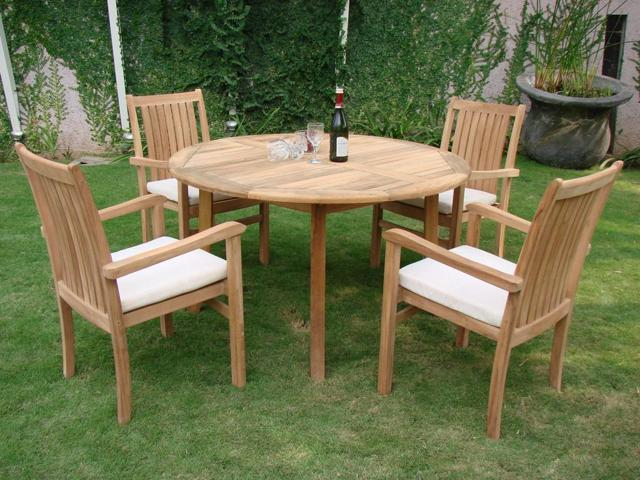 52 Round Table.Wholesaleteak 5 Pc Luxurious Grade A Teak Dining Set 52 Round Table And 4 Cahyo Stacking Arm Chairs Nedsch3 Newegg Com