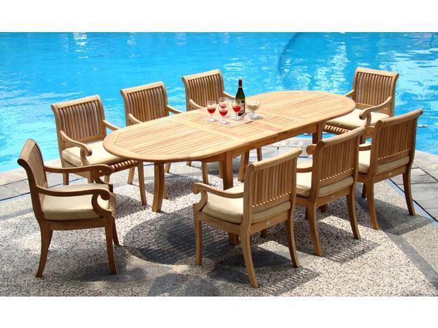 WholesaleTeak 9 Pc Luxurious Grade-A Teak Dining Set: 117