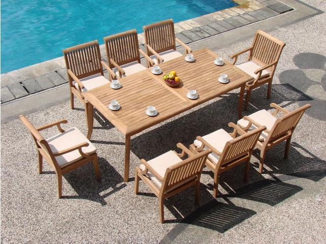 WholesaleTeak 9 Pc Luxurious Grade-A Teak Dining Set: 83