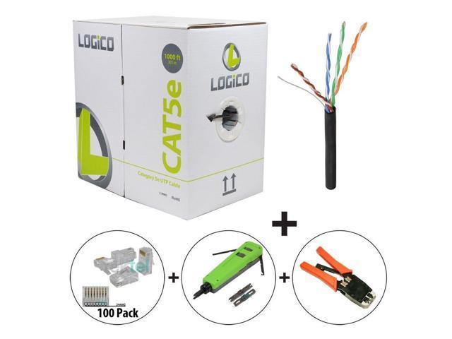 Cat5e Cable 1000FT Black+RJ45 Crimp Tool+Punch Down Tool+100 Pcs ...