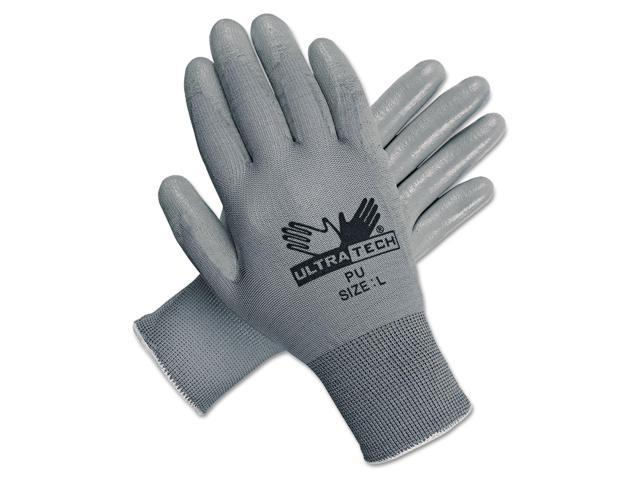 Ultra Tech Tactile Dexterity Work Gloves, White/gray, Large, 12 Pairs
