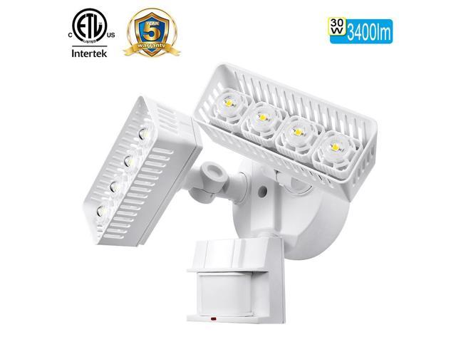 SANSI LED Security Light, 30W, 250W  Equivalent, 3400lm, 5000K Daylight, Waterproof, Motion Sensor Outdoor Light, Floodlight, Wall Light, Ceramic Heat Dissipation, Rectangular, White