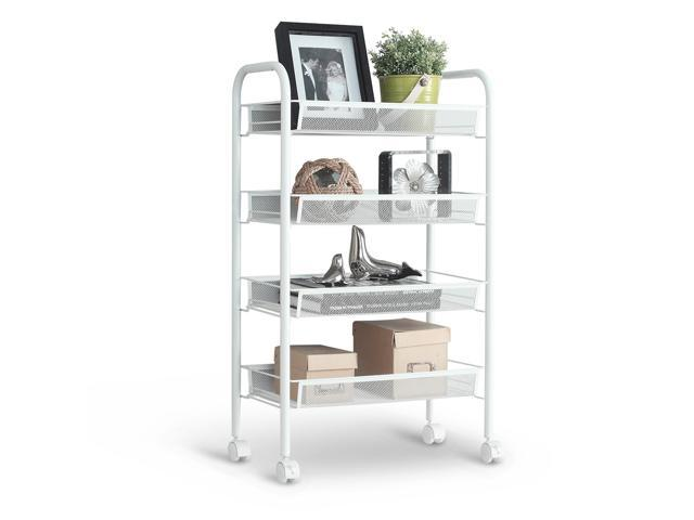 LANGRIA 4 Tier Metal Mesh Kitchen Office Organizer Shelves Storage Rolling  Cart Trolley, White