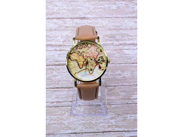 World Map Watch Leather Wrist Travel Gift Ideas Woman