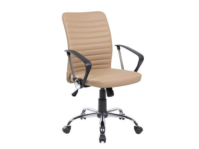Wondrous United Seating Uoc 8182 Bg Economic Modern Pu Leather Home Office Desk Chair With Chrome Polypropylene Armrest Brown Newegg Com Interior Design Ideas Clesiryabchikinfo