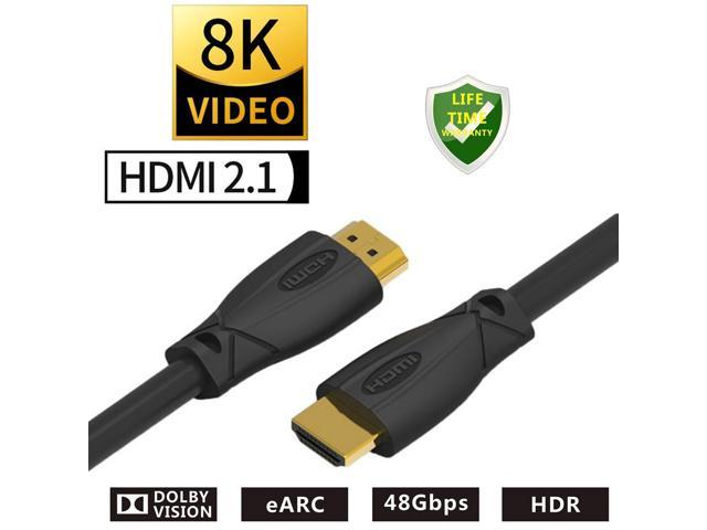 Dolby Atmos eARC 6FT HDMI 2.1 8K Ultra High Speed Cable 8K 60Hz HDR 48Gbps Dolby Vision VRR