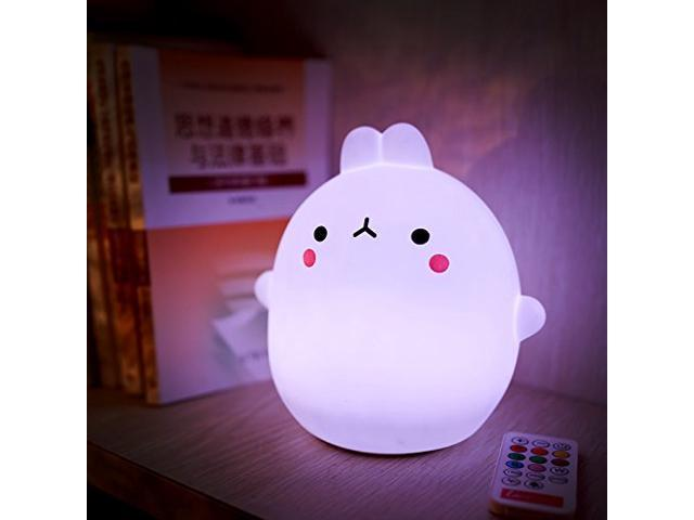 Wanmingtek Baby Night Light Led Silicone Cute Rabbit Cartoon Portable Lamp Touch Sensor Tap Control For Children Kids Gift Bedroom