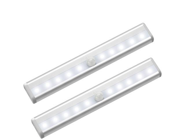 Wanmingtek 2pcs 10 Led Motion Sensing Closet Lights 3 Pack Diy Stick On Anywhere Portable Wireless Cabinet Night Stairs Step Light Bar With