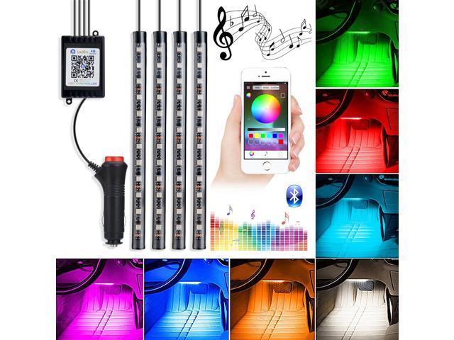 Wanmingtek Car Led Strip Lights 4pcs 48 Multi Color Bluetooth Controller Interior For Music Light Under Dash Lighting