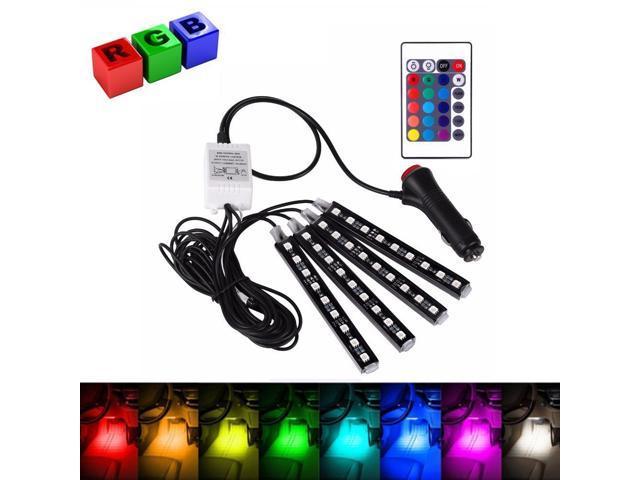 4pc 9LED Colorful RGB Remote Control Car Interior Floor Atmosphere Light Strip P