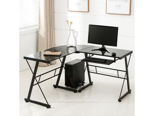 L Shape Corner Computer Desk Pc Glass Laptop Table Workstation