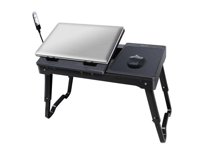 Foldable Laptop Table Tray Desk W Cooling Fan Led Tablet Stand Bed Black